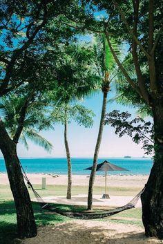 Ocean and Hammock view from the Hilton Fiji Beach Resort & Spa. ©Nadi Bay…