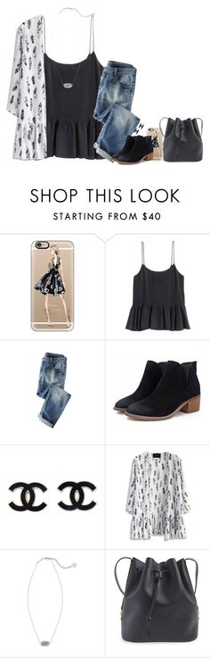 """""""QOTD"""" by meljordrum ❤ liked on Polyvore featuring Casetify, H&M, Wrap, Chicwish, Kendra Scott, Sophie Hulme, women's clothing, women's fashion, women and female"""