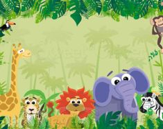 Jungle Safari Themed Party Backdrop .JPEG File by SweetandClever