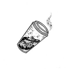 Coffee and Mountains illustration drawing