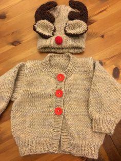 Reindeer cardigan and hat. Pattern by Karen Ashton-Mills