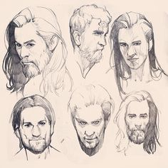 Male Head Practice Sketches by Kasia • kasiaslupecka.tumblr.com
