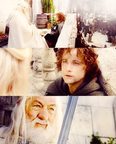 Pippin: I didn't think it would end this way.  Gandalf: End? No, the journey doesn't end here. Death is just another path, one that we all must take. The grey rain-curtain of this world rolls back, and all turns to silver glass, and then you see it.              Pippin: What? Gandalf? See what?    Gandalf: White shores and beyond, a far green country under a swift sunrise.  Pippin: Well, that isn't so bad.
