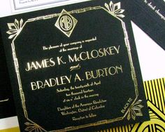 A Great Gatsby art deco wedding invitation in fabulous gold foil and black paper with letterpress accent pieces, featuring a custom monogram and
