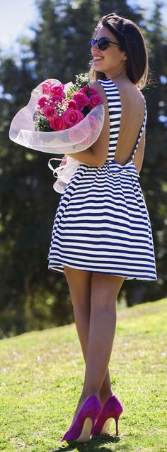 summer outfit: Backless Little Striped Little Dress