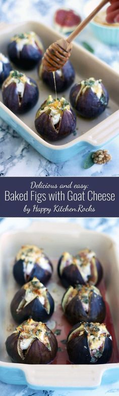Easy Baked Figs with Goat Cheese, walnuts, honey and sage recipe. These baked figs make for an elegant savory appetizer your guests will love! (recipes for snacks honey) Tapas, Sage Recipes, Potato Recipes, Recipes With Figs, Potato Snacks, Honey Recipes, Light Recipes, Appetizer Recipes, Party Appetizers