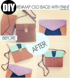 DIY: Revamp old bags with paint | get used bags from a thrift shop or flea market and repaint them