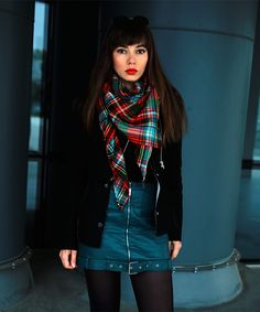 new post on: https://jointyicroissanty.blogspot.com/  This time I combined wool biker jacket with green leather skirt and plaid scarf.