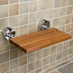 "20"""" Teak Modern Folding Shower Seat Bench"