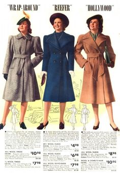 Retro Fashion Is the middle one actually called 'reefer'? That word must have had a different meaning back then.Three perpetually classic coat styles from the winter of 1940s Fashion Women, Retro Fashion, Vintage Fashion, Womens Fashion, Fashion Fashion, Edwardian Fashion, Fashion Black, Fashion Brands, Vintage Outfits