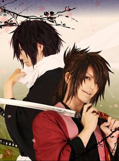 Hakuouki- Saitou and Okita Cosplay Okitas face is awsome