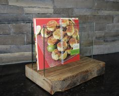 Cooking Book Stand. Coaster Holder. Reclaimed Wood and Glass. Handmade Home Décor. Barn  Wood Cooking Book Dispal by TicinoDesign on Etsy https://www.etsy.com/listing/261626277/cooking-book-stand-coaster-holder