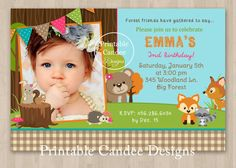 Girl Forest Friends Woodland Birthday by printablecandee on Etsy, $10.00