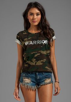 TEXTILE ELIZABETH AND JAMES Warrior Bowery Tee in Green Camo/Silver