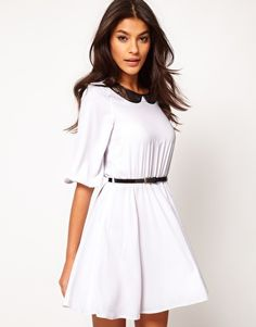 Enlarge ASOS Skater Dress With Lace Insert Collar