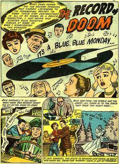 """""""The Record of Doom"""", by an unknown writer and drawn by Bill Ely. Originally published in 1956 in the April-May issue ( of Tales of the Unexpected. Vinyl Music, Vinyl Records, Tales Of The Unexpected, Dark Power, Comic Book Panels, Vinyl Junkies, Record Players, Vintage Records, Horror Comics"""