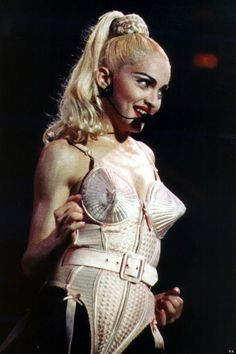 Madonna during the Blonde Ambition World Tour wearing the iconic Jean Paul Gaultier corset, 1990 Madonna Outfits, Madonna Fashion, 90s Fashion, Madonna Pics, Madonna Images, Icon Fashion, Jean Paul Gaultier, 1980s, Feminism