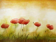 Poppies - Watercolor Fine Art Original Painting Flower Poppy Art