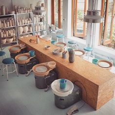 Just about ready for another workshop in my studio. Eight new students from around the world will walk through my door at tomorrow morning for 6 days of pottery, food, and fun. Excited to meet them! For info on our workshops visit www. Studio Shed, Studio Table, Workshop Studio, Clay Studio, Ceramic Studio, Ceramic Workshop, Pottery Workshop, Pottery Studio, Studio Layout