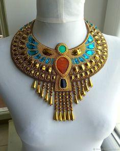 `Дочь Фараона` колье-оплечье с кристаллами Beaded Jewelry, Beaded Necklace, Egyptian, Oriental, Jewelery, Embroidery, Beads, Crochet, Creative