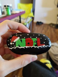 Noel💚❤️ $15 + shipping and handling Painted Rocks For Sale, Hand Painted Rocks, Noel