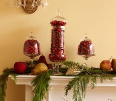 Seasonal Spread - Apothecary jars filled with cranberries, accented by the warm glow of sparkling fruit and pinecones. Christmas Love, Country Christmas, All Things Christmas, Winter Christmas, Christmas Ideas, Christmas Foods, Holiday Crafts, Holiday Fun, Jolly Holiday