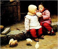 Oil Painting Chinese Children :  http://www.chilture.com/oil-painting-chinese-children-p-256.html