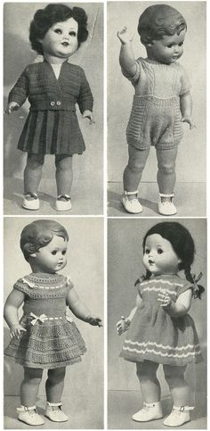 vintage retro toys dolls clothing knitted dresses fifties nifty