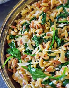 This Orzo Pasta with Spinach and Parmesan from Life Tastes Good is an easy recipe using fresh ingredients to maximize flavor! It makes an impressive side dish or all-in-one meal with the addition of c (Favorite Recipes Healthy) Orzo Pasta Recipes, Salad Recipes, Chicken Orzo Pasta, Chicken Salad, Grilled Chicken, Vegetarian Recipes, Cooking Recipes, Healthy Recipes, Easy Recipes