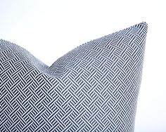 Navy Woven Pillow Cover / Invisible Zipper Pillow by Pillomatic