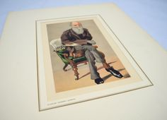 Vintage Charles Darwin Print by Petrolagar Laboratories, 1930s Reproduction of a 19th Century Scientist Caricature by UpswingVintage on Etsy