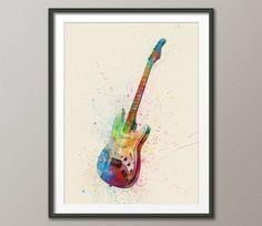 watercolor paintings of guitars - Google Search