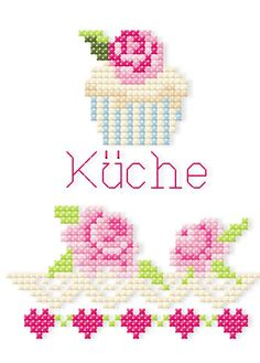Kreuzstich mit der Stickmaschine Machine embroidered cross stitch - pattern available for purchase.