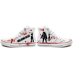 Converse Shoes Daryl Dixon, The walking dead shoes. Walking Dead... ($119) ❤ liked on Polyvore featuring shoes, red high tops, converse shoes, white high top shoes, red shoes and wing shoes