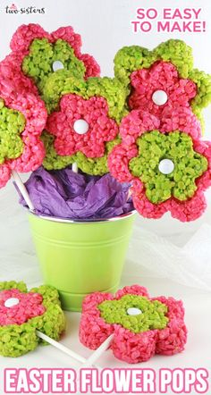 Our Rice Krispie Flower Pops are a fun and delicious version of the classic Rice Krispie Treat - colorful, tasty and so easy to make. Best Sushi Rice, Sushi Rice Recipes, Rice Recipes For Dinner, Rice Krispy Treats Recipe, Rice Crispy Treats, Krispie Treats, Yellow Foods, Pink Foods, Easter Treats