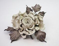 Leather gift for her leather flower brooch leather anniversary gift grey leather rose jewelry leather flower leather floral brooch Leather Anniversary Gift, 3rd Anniversary Gifts, Flower Corsage, Flower Brooch, Bud Flower, Daffodil Flower, Leather Flowers, Pink Leather, Leather Gifts For Her