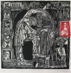 """My favorite, favorite, favorite local San Diego artist is Igor Koutsenko. He just released a new linocut print called """"Timecatcher"""". It's really stunning. This print is a larger one - 18"""" x 18""""."""
