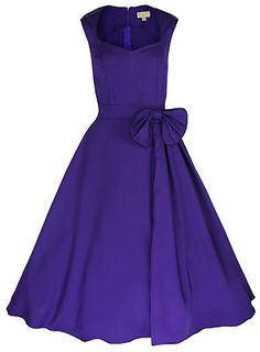 New Classy Vintage 1950's Rockabilly Style Purple Bow Swing Party Evening Dress | eBay