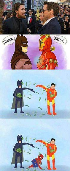 Batman vs Iron Man Meme HAHAHA Love this. Spiderman makes it haha Funny Marvel Memes, Dc Memes, Marvel Jokes, Funny Memes, Hilarious, Funny Quotes, Funny Batman, Dc Comics Funny, Loki Quotes