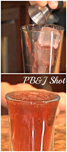Peanut Butter and Jelly Shot.The Peanut Butter and Jelly shot is a classic that doesn't actually involve any peanut butter, yet it still works. http://www.ifood.tv/recipe/peanut-butter-and-jelly-shot