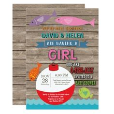 Honor the expected baby girl with a fun fishing theme baby shower. Find 3 cute invites and a couple of party supplies too! Baby Girl Shower Themes, Baby Shower Party Supplies, Baby Shower Invitations For Boys, Baby Shower Parties, Baby Boy Shower, O Fish Ally, Baby Fish, Fishing Girls, Rustic Baby