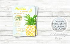 """Thanks for the kind words! ★★★★★ """"Love it! She customized the invitation and everything fit perfect. Super quick turn around time!"""" algresha http://etsy.me/2DN0wta #etsy #papergoods #birthday #pineappleinvitation #pineappleparty #pineapplebirthday #pineapple #watercolo"""