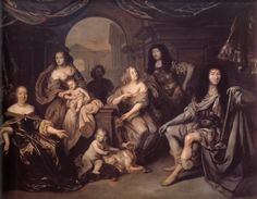 Jacob van Loo The French Royal Family in circa 1663 From Left to Right : Anne of Austria (Queen-Mother); Henrietta of England (Madame, Duchess of Orléans) with her daughter Marie-Louise; The Dauphin Louis with a dog, Maria-Theresa of Austria (Queen). Louis Xiv, Roi Louis, Versailles, Duc D'anjou, Charles Ii Of England, Ludwig Xiv, George Blagden, Beau Brummell, Royal Families