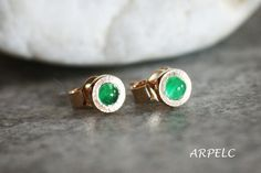 Green emerald stud earrings in 14k gold  gemstone stud by ARPELC