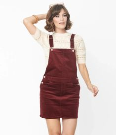 Merlot Corduroy Pinafore Mini Dress