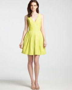 HALSTON HERITAGE V Neck Dress - Sleeveless with Full Skirt  Bloomingdale's