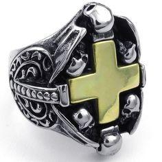 KONOV Jewelry Mens Stainless Steel Ring, Gothic Skull Cross, Gold Black Silver|Amazon.com. Check it out at skullcart.com #skull #skulls #ring #skullcart #jewelry