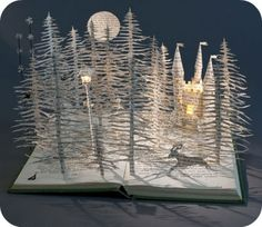 paper forest cut out of an old book ~ amazing art