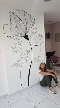 Wall Painting Flowers, Easy Flower Painting, Wall Painting Decor, Mural Wall Art, Watercolor Flowers, Watercolor Paintings, Wall Drawing, Flower Wall, Flower Mural