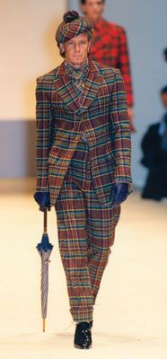 A Great Highland Fling. Vivienne Westwood's tartan ensemble for men from her Autumn/Winter 1997-98 collection. Photo: Niall McInerney.